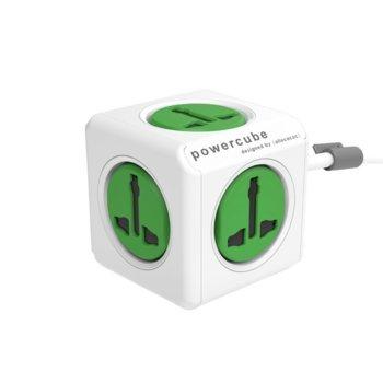 Разклонител Allocacoc Power Cube Universal 10532GN, 5 гнезда, защита от деца, бял/зелен, 1.5 м кабел image