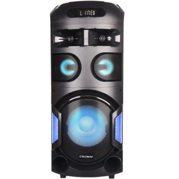 Аудио система Crown GTB-602TW, 2.0, 350W, LCD дисплей, зареждане на телефон, USB, Bluetooth, SD четец на карти, парти светлини, черна image