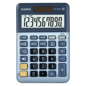 Калкулатор Casio MS-100EM, 10-цифрен LCD дисплей, настолен, бутон за бърза корекция, онвертиране на валута, изчисляване на %, син image