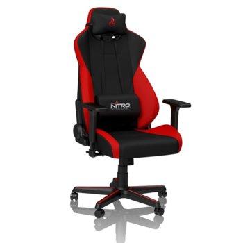 Геймърски стол Nitro Concepts - S300 (NC-S300-BR), до 135кг, метална рамка, плат, черно-червен image