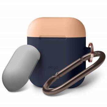 Калъф за слушалки Elago Duo Hang Silicone Case EAPDH-JIN-PEMGY, за Apple AirPods, силиконов, тъмносин image