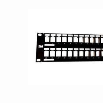 """Пач панел 3M VOL-PPCA-F48K, 48x порта, 19"""", 1U, Cat.6,STP, черен image"""