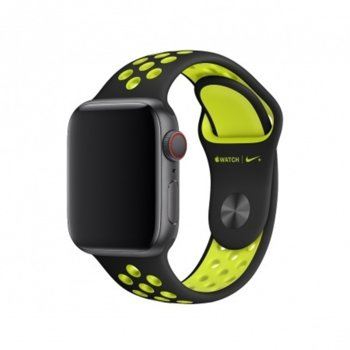 Каишка за смарт часовник Apple Watch (40mm) Black/Volt Nike Sport Band - S/M & M/L, черна/зелена image
