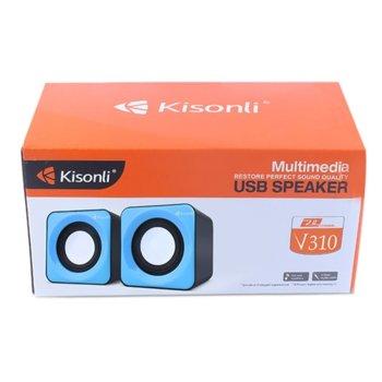 Тонколони Kisonli V310, 2.0, 6RMS( 1,5W + 1,5W), USB, различни цветове image