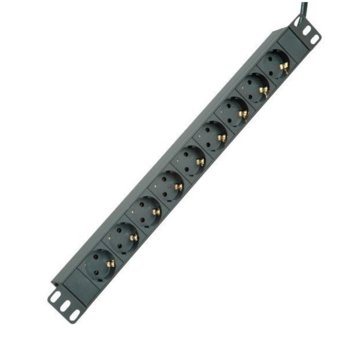 "Разклонител EFB Elektronik EK622DE.1, 19"" (48.26 cm), 1U, 9 гнезда, 2 м. кабел, черен image"