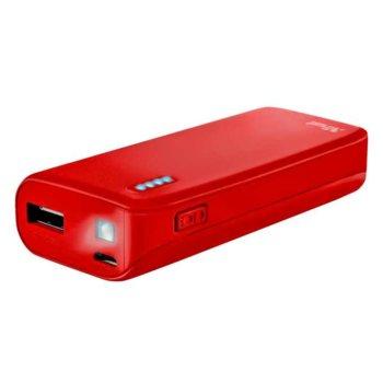 Външна батерия/power bank/ TRUST Primo 22136, 4400 mAh, червена, 1x USB A, 1x micro USB Type B image