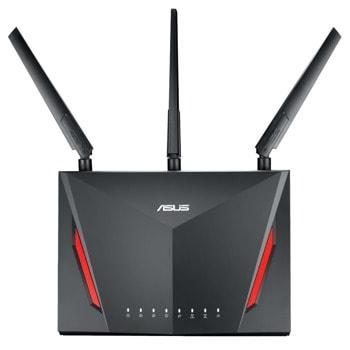 Рутер Asus RT-AC2900, 3G/4G, 2900Mbps, 2.4GHz(750 Mbps) / 5GHz(2167 Mbps), Wireless AC, 4x LAN1000, 1x WAN1000, 1x USB 3.0, 1x USB 2.0, 3x външни антени, 1x вътрешна антена image