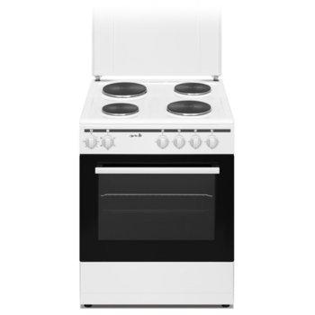 Готварска печка Аrielli C-6060FL ECO 56 л. обем на фурната, 4 нагревателни зони, 5 функции, бяла image