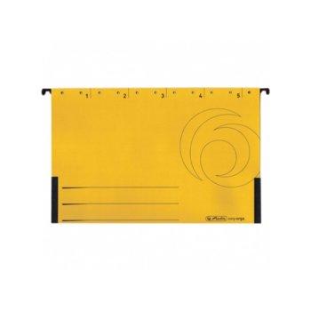 Папка картотека Herlitz Easyorga, V-образна, изработена от картон, с метални шини, жълта, 5бр. в опаковка image