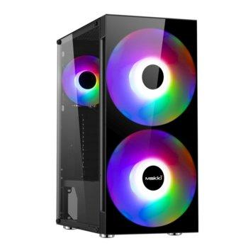 Кутия Makki F10-RGB-2F, ATX/Micro ATX/Mini ITX, 1x USB 3.0, черна, RGB подсветка, без захранване image