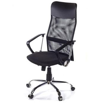 Директорски стол Ultra Chrome C11, до 120кг, дамаска, метална база, коригиране височина, регулируем люлеещ механизъм, заключване в позиция, черен image