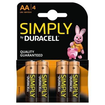 Батерии алкални Duracell Simply AA (LR6), 1.5V, 4бр. image