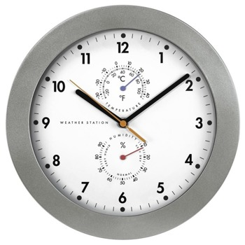 Часовник Hama PG-300 186344, аналогово указание, стенен, термометър, хигрометър, бял image
