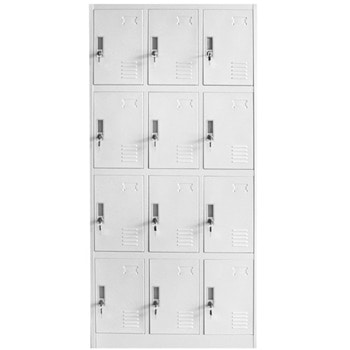 Метален шкаф RFG DZX-078, 12x шкафове, прахово боядисан, метален, заключване, вентилационен отвор, сив image