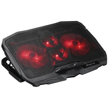 "Охлаждаща поставка за лаптоп Xtrike ME XTRM-FN-802, за лаптопи до 16"" (40.64 cm), 2x USB, 4 вентилатора, 1000 rpm, червена подсветка, черна image"