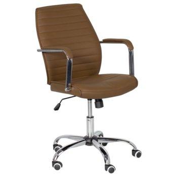 Офис стол Carmen 6174, еко кожа, хромирана база, подлакътници, газов амортисьор, коригиране височина, кафе image