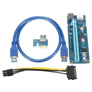 Контролер/екстендер OEM VER-006C. от PCI-E x1 към PCI-E x16 чрез USB 3.0, в комплет с кабел от SATA power към 6-Pin image
