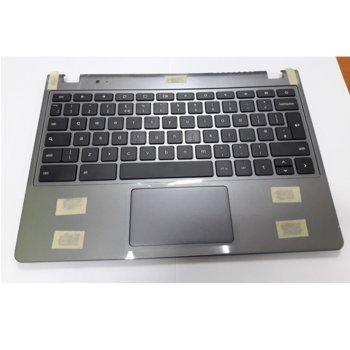 Клавиатура за лаптоп Acer, съвместима със серия Chromebook C720 C720P, сива, US/UK, палмрест, тъчпад image