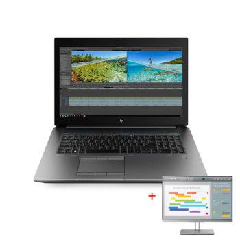 """Лаптоп HP ZBook 17 G6 (6CK22AV_71097747)(сив) в комплект с монитор HP EliteDisplay E243i, шестядрен Coffee Lake Intel Core i7-9750H 2.6/4.5 GHz, 17.3"""" (43.94 cm) Full HD Display & Quadro T1000 4GB, 16GB DDR4, 1TB HDD & 256GB SSD, Windows 10 image"""