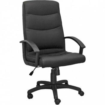 Директорски стол Factor, екo кожа, фиксирани подлакътници, люлеещ механизъм, регулиране височината на седящия, черен image