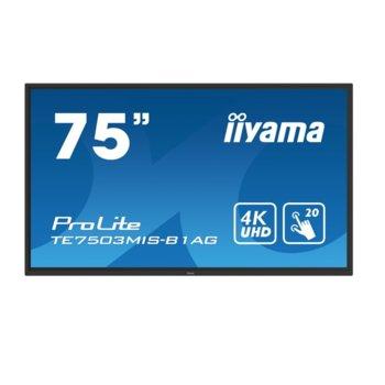 "Интерактивен дисплей Iiyama TE7503MIS-B1AG, 74.5"" (189.2 cm), Ultra HD, HDMI, VGA, DisplayPort, USB image"