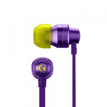 "Слушалки Logitech G333, микрофон, тип ""тапи"", 3.5 mm jack, лилави image"