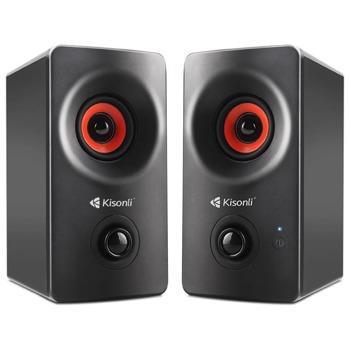 Тонколони Kisonli AC-9002BT, 2.0, 10W, AUX, Bluetooth 5.0, черни image