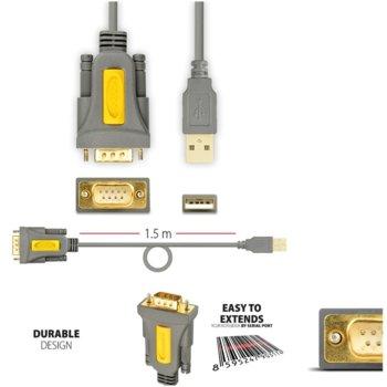 Преходник AXAGON ADS-1PS, от USB A(м) към Serial RS232(м), 1.5 метра, позлатени конектори, сив image