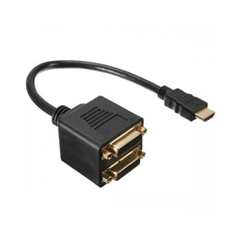 Преходник DeTech, HDMI(м) към 2x DVI(ж), черен image