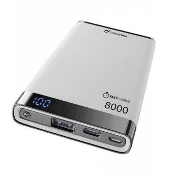 Външна батерия/power bank/ Cellularline Manta S, 8000mAh, черна image