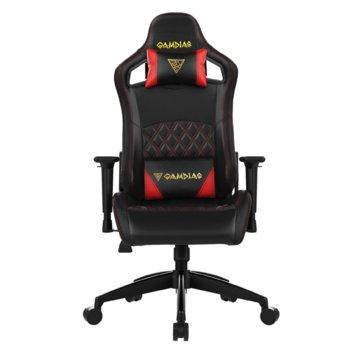 Геймърски стол Gamdias Aphrodite EF1 L, кожа, до 200 кг натоварване, облегалки за ръцете с 2D регулиране, червен/черен image