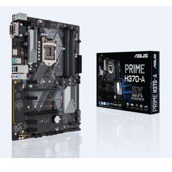Дънна платка ASUS PRIME H370-A, H370, LGA1151, DDR4, PCI-E(HDMI&DVI-D)(CFX), 6x SATA 6Gb/s, 2x M.2 Socket, 2x USB 3.1 Gen 2 up to 10Gbps, ATX image