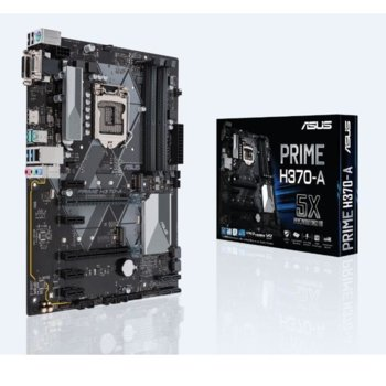 Дънна платка ASUS PRIME H370-A, H370, LGA1151, DDR4, PCI-E(HDMI&DVI-D)(CFX), 6x SATA 6Gb/s, 2x M.2 Socket, 2x USB 3.1 Gen 2 up to 10Gbps, ATX image