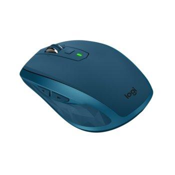 """Мишка Logitech MX Anywhere 2S, лазерна """"Darkfield""""(4000 dpi), безжична, microUSB, тъмно синя image"""