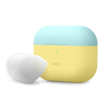 Калъф за слушалки Elago Duo Silicone EAPPDO-CYE-CBLLU, за Apple AirPods Pro, силиконов, жълт-син image