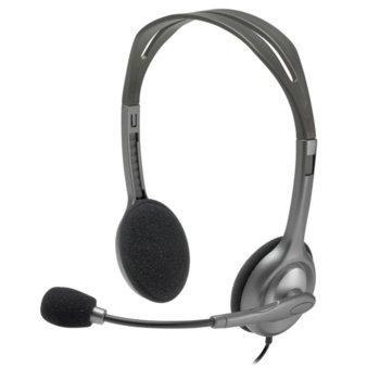 Слушалки Logitech Stereo Headset H111, микрофон, сребристи image