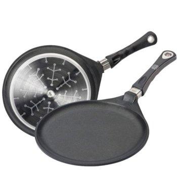 Тиган за палачинки AMT I-128, алуминий, незалепващо покритие Lotan, 28 cm диаметър, 1 cm дълбочина, черен image