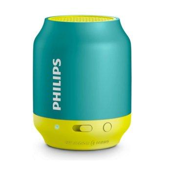 Тонколона Philips Bluetooth BT25B, 2.0, 2W, Bluetooth 4.0, до 6ч време за работа, до 10м обхват, USB, зелена-жълта image