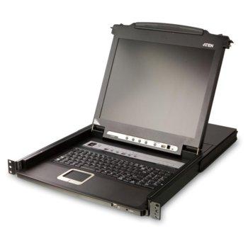 """KVM суич ATEN CL5716M, от 1x SPHD-18(м), 1x USB A(ж) към 8x SPHD-15(ж), 1x USB A(ж), затварящ/въртящ се 17"""" (43.18 cm) LED дисплей, 1280x1024 резолюция, контрол до 256 компютъра чрез Daisy Chain, 1 устройство image"""