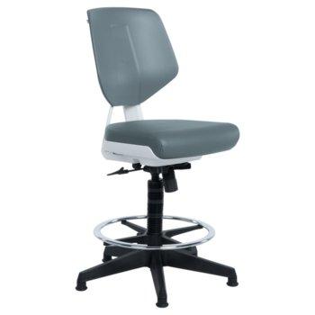 Работен стол Carmen LAB, Еко кожа, до 100 кг., сив image