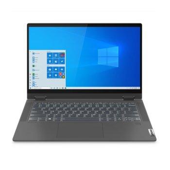 "Лаптоп Lenovo IdeaPad Flex 5 14IIL05 (81X10023BM)(сив), четириядрен Ice Lake Intel Core i5-1035G1 1.0/3.6 GHz, 14"" (35.56 cm) Full HD IPS 250nits Glossy Multi-touch Display, (HDMI), 8GB DDR4, 512GB SSD, 1x USB Type-C, Windows 10 Home image"