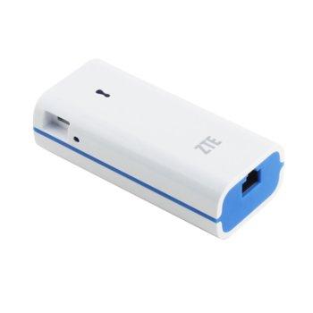 Рутер ZTE PW50 за свързване с 3G/4G USB модем, мобилен, 150Mbps, 2.4GHz(150 Mbps), Wireless N, 1x WAN/LAN, 1x microUSB, 1x USB 2.0, 1x Micro USB, 4400mAh батерия image