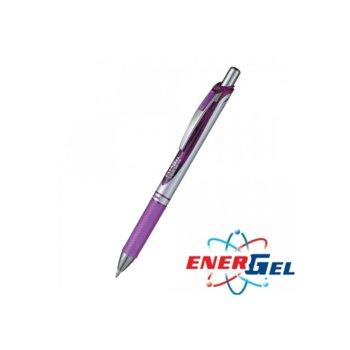 Автоматичен ролер Pentel Energel BL77, лилав цвят на писане, дебелина на линията 0.7 mm, гел, сребрист, цената е за 1бр. (продава се в опаковка от 12бр.) image