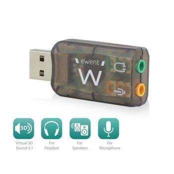 Външна звукова карта Ewent EW3751, USB 2.0, 1x Audio Out, 1x Mic, 5.1, черна image