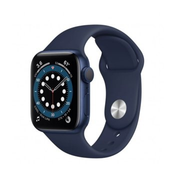 "Смарт часовник Apple Watch Series 6, 40mm, 1.57"" (3.99 cm) Retina OLED дисплей, Bluetooth, 50m water resistant, до 18 часа време на работа, Sport Band - Regular, син image"