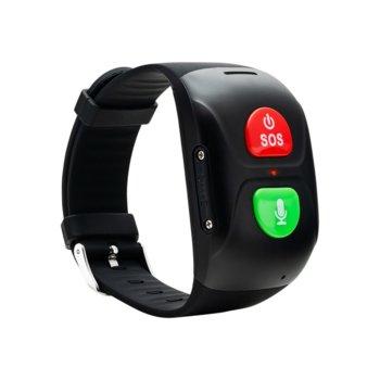 Смарт гривна за възрастни Canyon CNE-ST01BB, SOS функция, сензор за кръвно налягане, GPS, двустранни разговори, водоустойчива, черна image