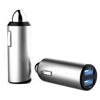 Зарядно за кола Platinet Car Charger PLCRM24, от авт. запалка към 2x USB A(ж), 12-25V, 2x 2.4А, бяло image