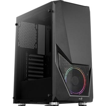 Кутия AeroCool Zauron fRGB, ATX/Micro ATX/Mini-ITX, 2x USB 3.0, прозорец, черна, без захранване image