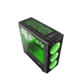 Кутия Genesis Irid 300 Green, ATX, micro-ATX, mini-ITX, 1x USB 3.0, 2x USB 2.0, прозорец, черна, без захранване image