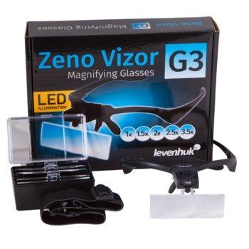 Увеличителни очила Levenhuk Zeno Vizor G3, 3,5x увеличение, 2 бели светодиодни лампи, 5 степени на увеличение image